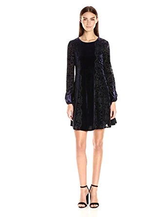 b258c17c5f Get Quotations · Taylor Dresses Women s Stretch Velvet Mirror Print Swing  Dress