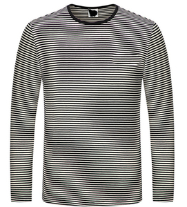 Newest Design New Models Cotton Long Sleeve Black And White O Neck Casual Striped T Shirt For Student