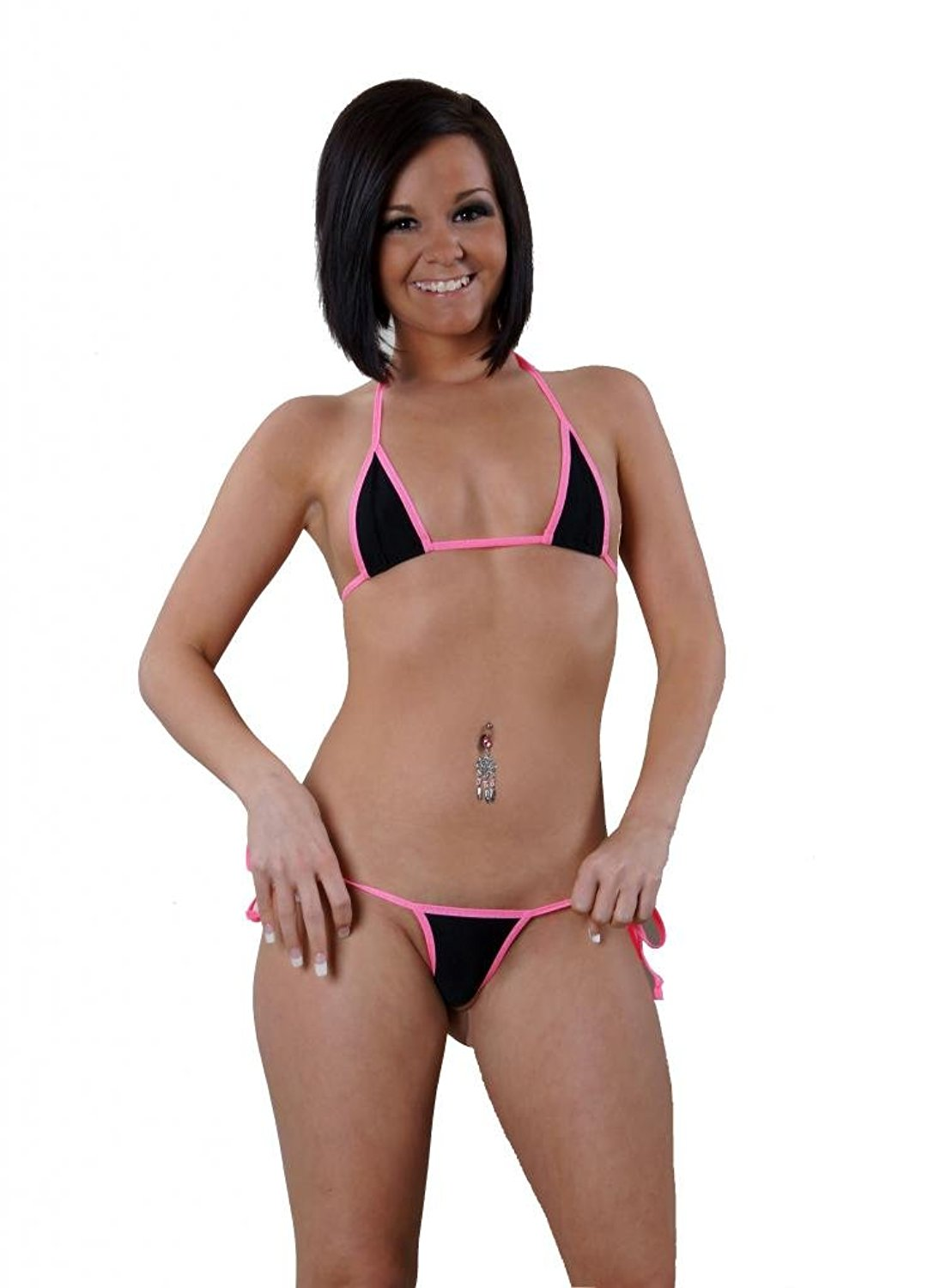 e84443f846 Solid Black w/ Neon Pink Sexy Side Tie Thong Bikini 2 Piece Micro Made in