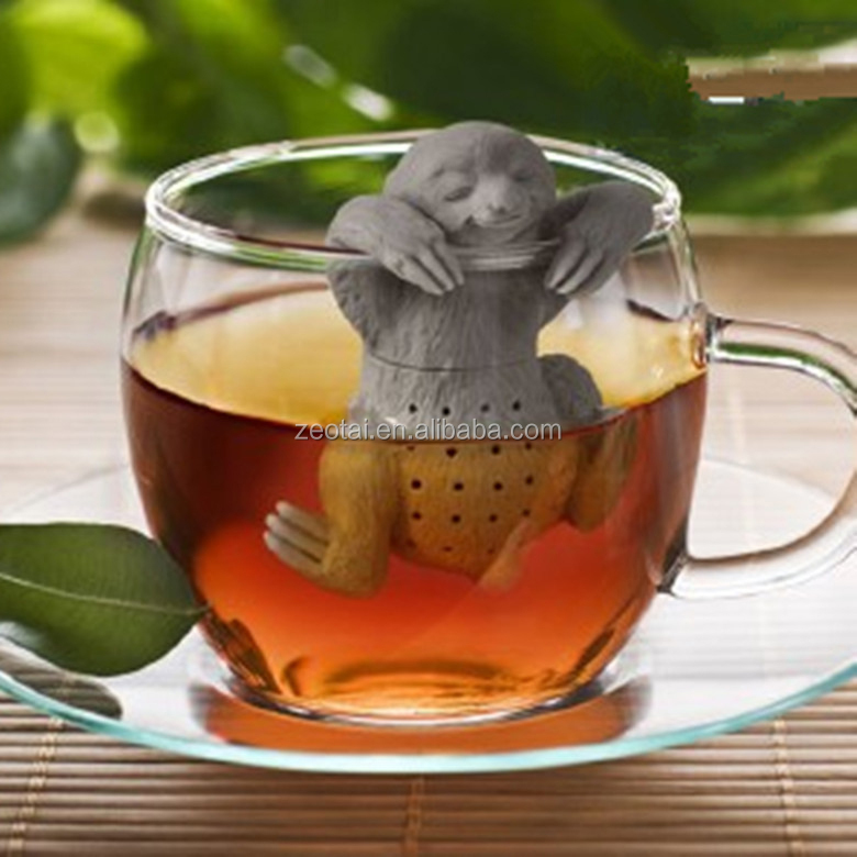Sloth Brew Tea Infuser Grey Silicone Animal Cup Mug Brewing Herbs Fred & Friends SLOW BREW Sloth Tea Infuser