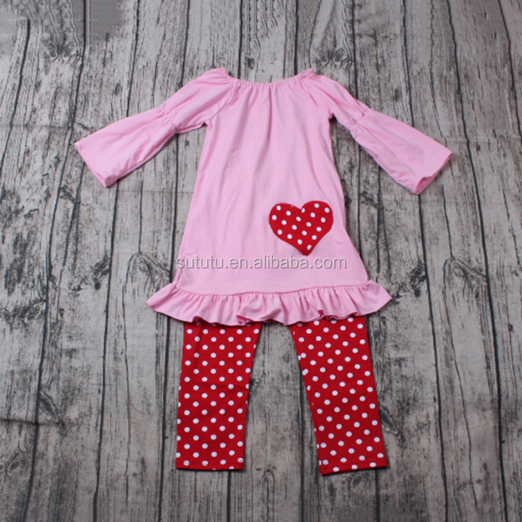 Children valentine's day Boutique pink dress with embroidery malaysia wholesale clothing suppliers