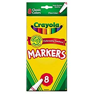 Crayola Products - Crayola - Non-Washable Markers, Fine Point, Classic Colors, 8/Set - Sold As 1 Set - An arts and crafts essential. - Classic, long-lasting, durable markers lay down lots of brilliant color, yet don't bleed through. - Water-soluble and water-based ink.