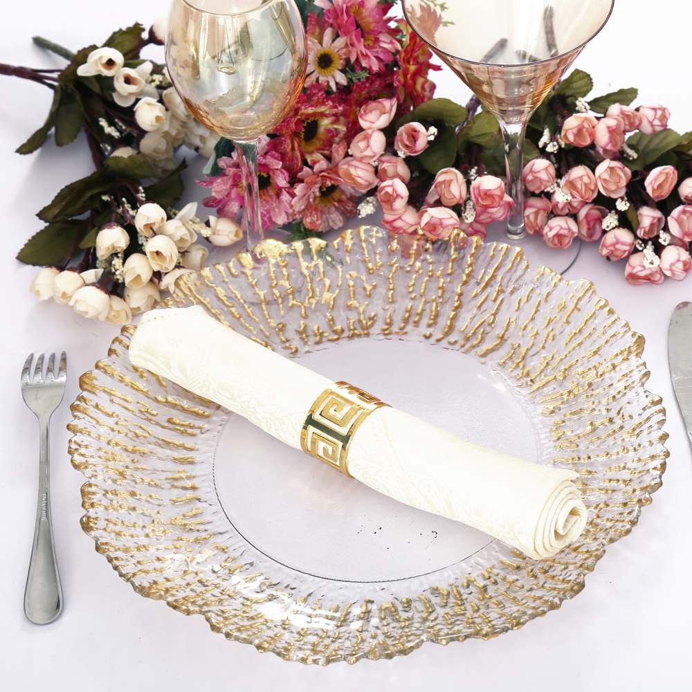 Holy Manufacture fancy cheap gold rim glass dinner and wedding charger plates wholesale