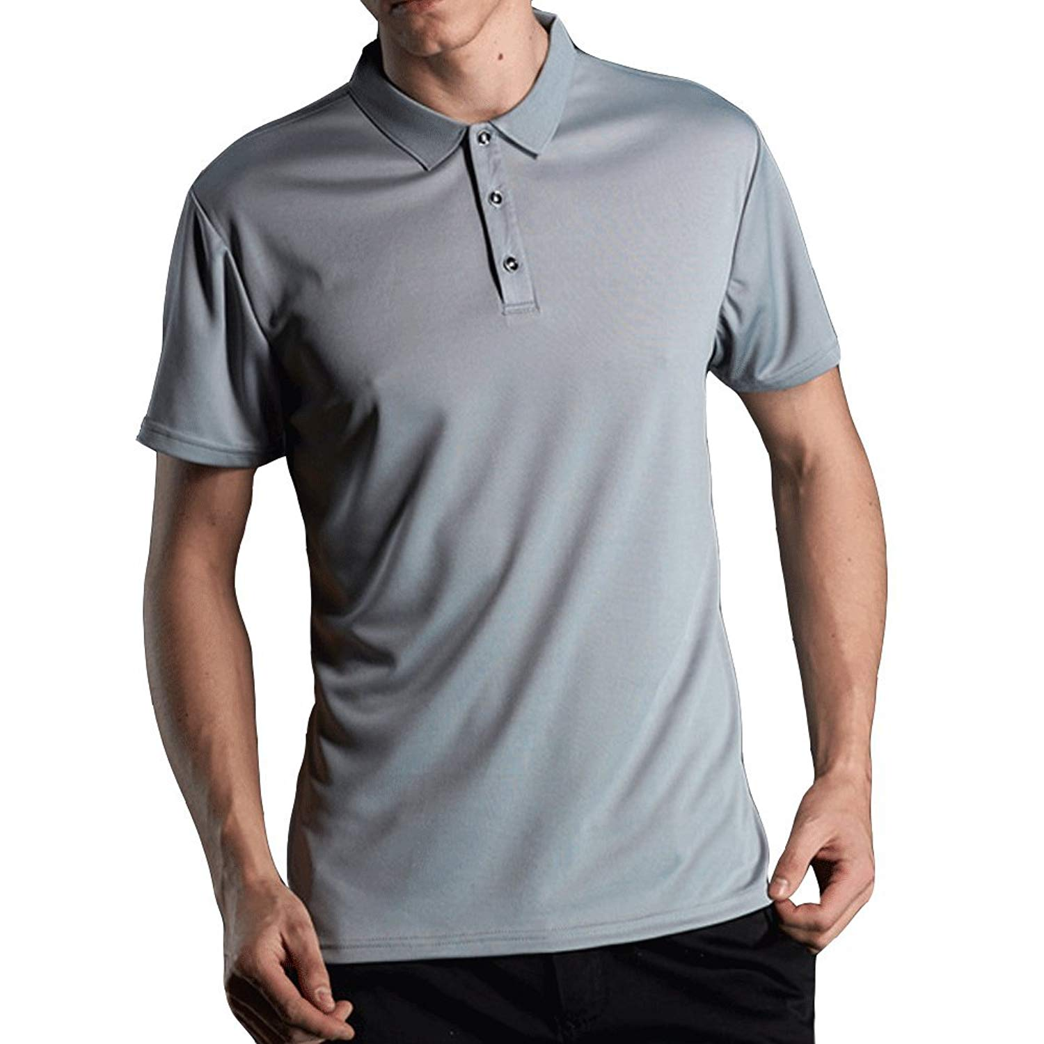 acf78b35 Get Quotations · EVERDESIGN Men's Short Sleeve Moisture Wicking Polo - Dri- Fit Solid Shirts Performance Golf Pique