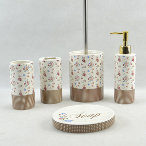Ceramic Full Bathroom Hotel Accessory With Toilet Brush Soap Dish Dispenser Tumbler