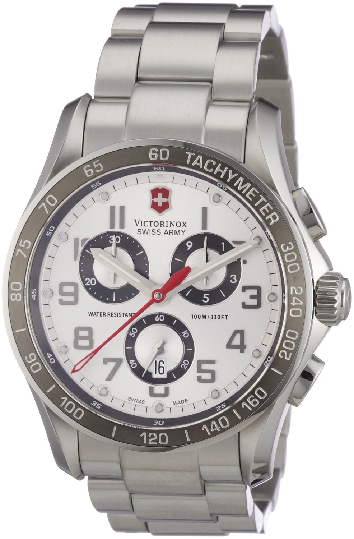 Victorinox Men's 241445 Swiss Army Analog Swiss Quartz Silver Watch