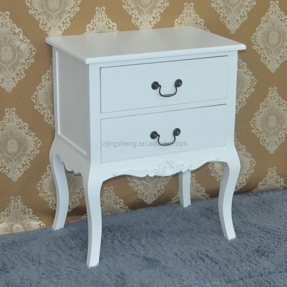 Hot sell NC painted good finishing mdf white mirrored vanity bedside table
