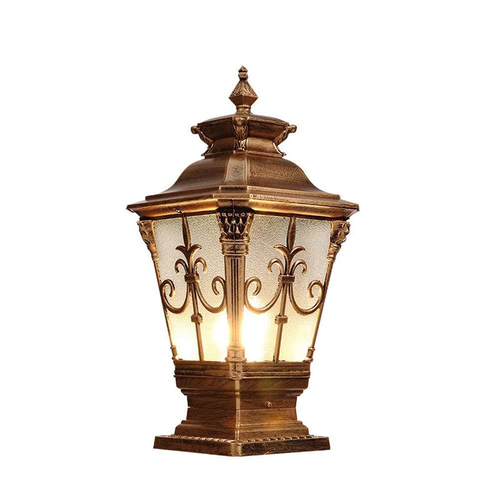 European Luxury Villa Pillar Lamp Outdoor Antique Metal Rust Prevention High Brightness E27 Exterior Post Pillar Lantern Light Decorative Gate Garage Park Access Lighting Column Lamp