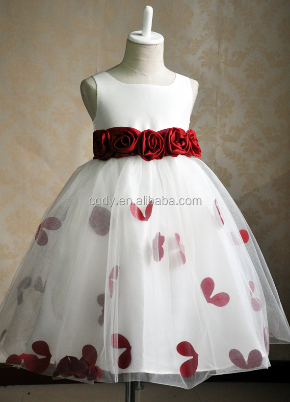 New Design White Princess Chiffon Girl Party Wear Western