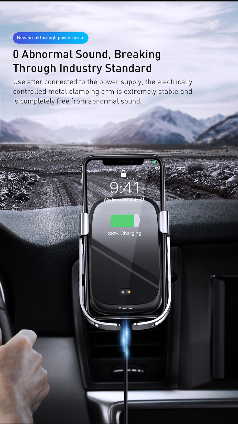 Baseus 10W Qi Fast Wireless Charger Car Holder Car Mount Charging For Car