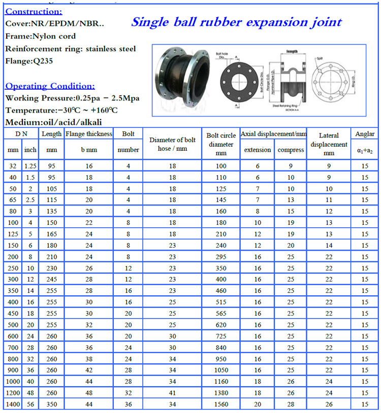 Image result for rubber expansion joint jis 10k dimension