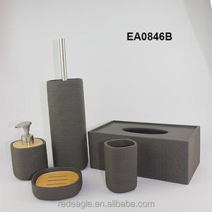 Natural Color 5pcs Wooden Bathroom Accessories Sets