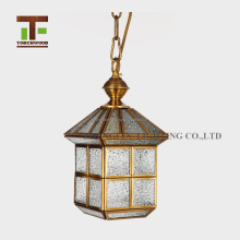 Retro Amercian countryside copper brass glass lamp shade pendant lights