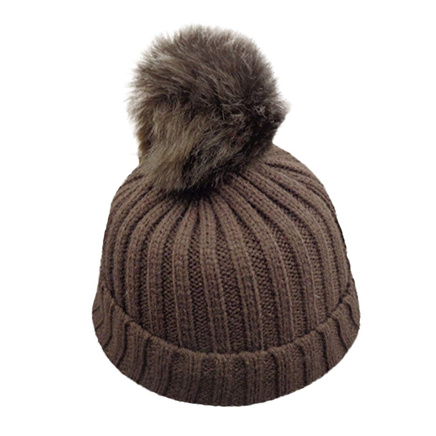 bb532126e1e Get Quotations · 1-8 Years Unisex Baby Boys Girls Winter Solid Knit Hat  Faux Fur Pom Pom