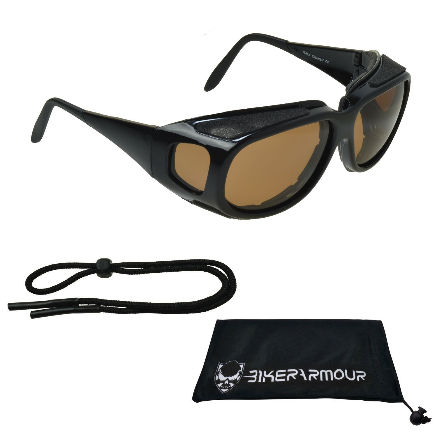 065facd6309 Get Quotations · Polarized Motorcycle sunglasses over RX glasses side  shields with sunglass strap and large microfiber cleaning case