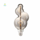 Special design bubble soft curved filament led bulb amber smoke edison style spiral filament