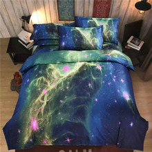 Single Double Queen King Szie Stars Space Sky Cover Bed Polyester Sheet Bedding Set