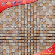 15x15 Glass Mix Stone Marble Mosaic Tiles of Wave Pattern (KS20)