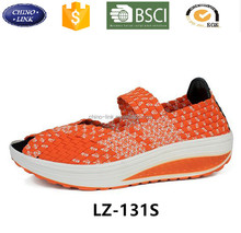Size 40 Women Peep-toe Woven elastic Straw Braid Shoes Summer Soft Moccasins Fashion comfortable hot sell casual shoe