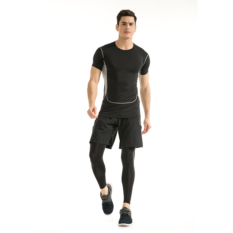 New Sport Fitness Men's ElasticTraining Running Suits Tight Quick-drying Sports T-shirt Sets