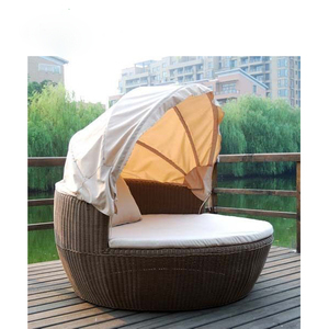 Outdoor Furniture Wholesale Wicker Rattan Garden Daybed With Canopy