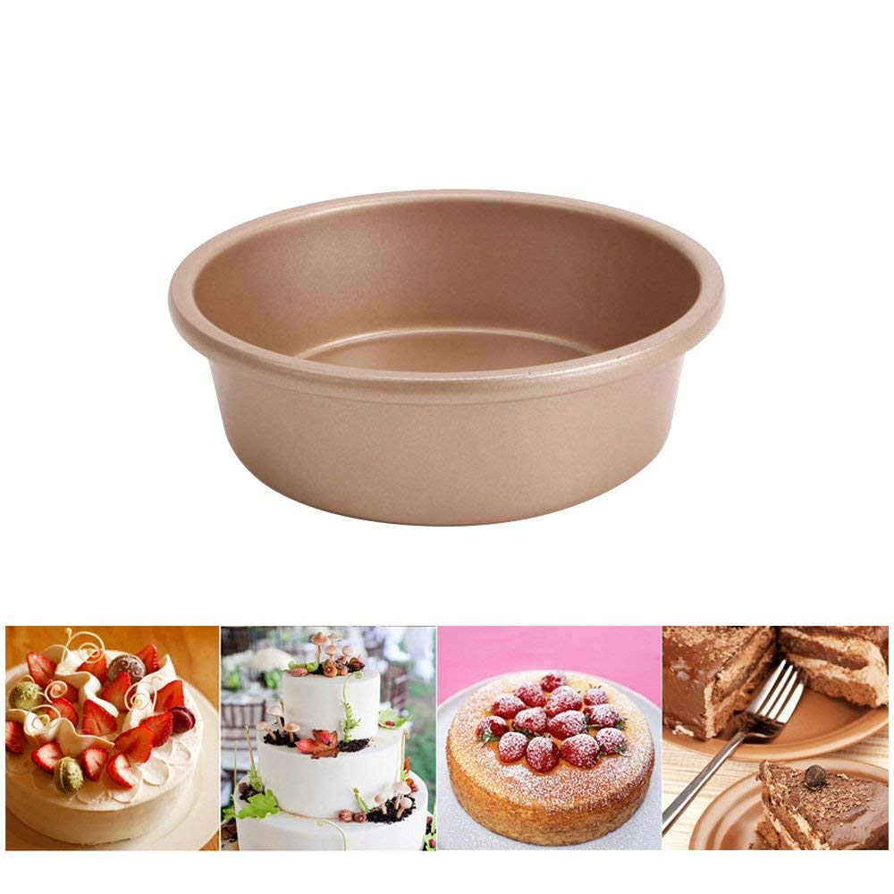 "LUCKSTAR Round Cake Pan - 6"" Non-stick Round Cake Baking Mould Pan Solid Bottom Round Cheese Cake Mold Heavy Carbon Steel Bread Mould DIY Baking Mold - Baking Accessories"