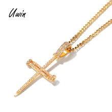 HipHop Iced Out Bling Bling Zircon Croix Pendentif Ongle 18 K Plaqué Or Pendentif