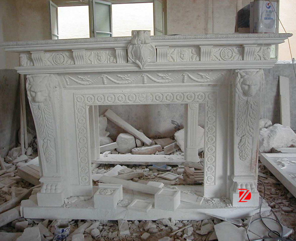 indoor stone fireplace. white lion head indoor stone fireplace mantel with claw feet