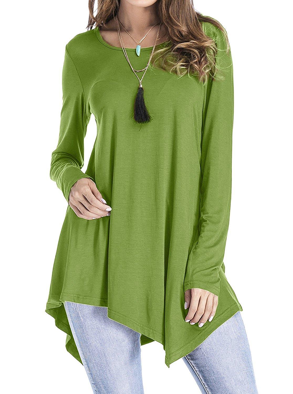 c75a68ac36e Get Quotations · Adreamly Women s Handkerchief Hem Long Sleeve Swing Loose Tunic  Tops