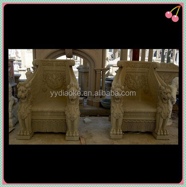 Large outdoor stone carving lion chair