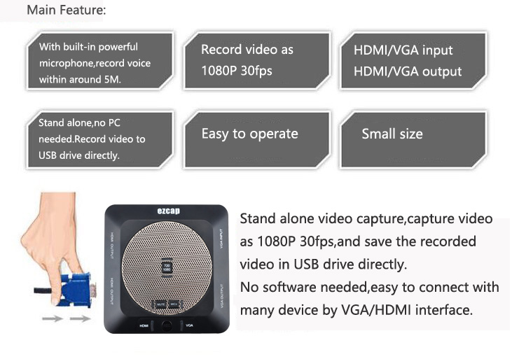 Stand alone HDMI Lecture Capture with Built-in Microphone ezcap289