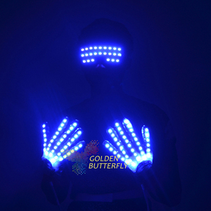Luminous glasses Led gloves glow goggles clothes new clothes hot DJ dance party props men's fashion Glowing gloves goggles