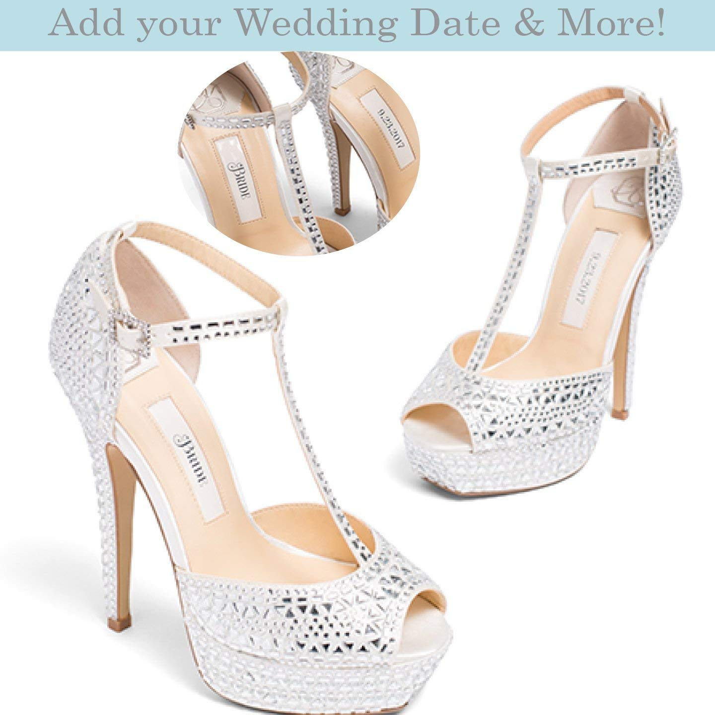 "Bridal Women's Platform High Heel Satin Wedding Shoe with Rhinestone Encrusted Heel in Ivory– Kate Whitcomb Shoes style ""Bianca"""
