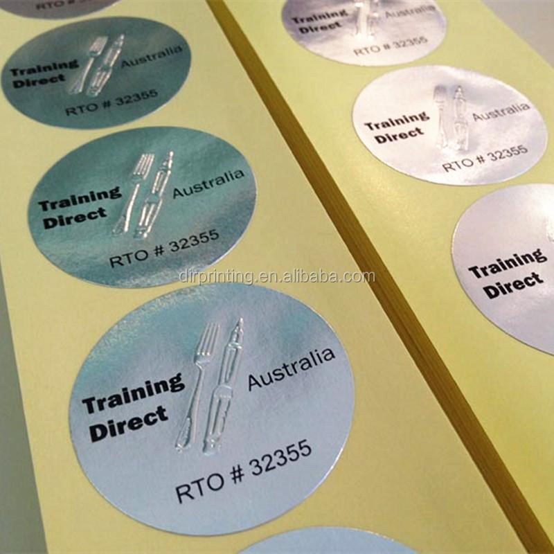 Gold metal material embossing die cut sticker