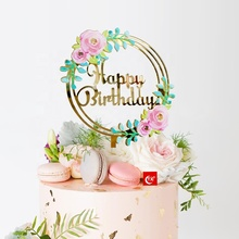 TX New Products 3d Art Printing Happy Birthday Gorgeous Colorful Acrylic Cake Topper For Birthday Party Supplier
