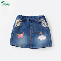2018 New Girls Skirts Cute Embroidery Floral Denim Skirt For Summer Style Girls Jeans Skirts Children Casual Outfit