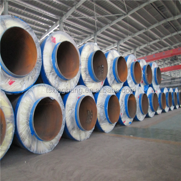 Glass fiber reinforced plastic shell prefabricated directly buried insulating pipe