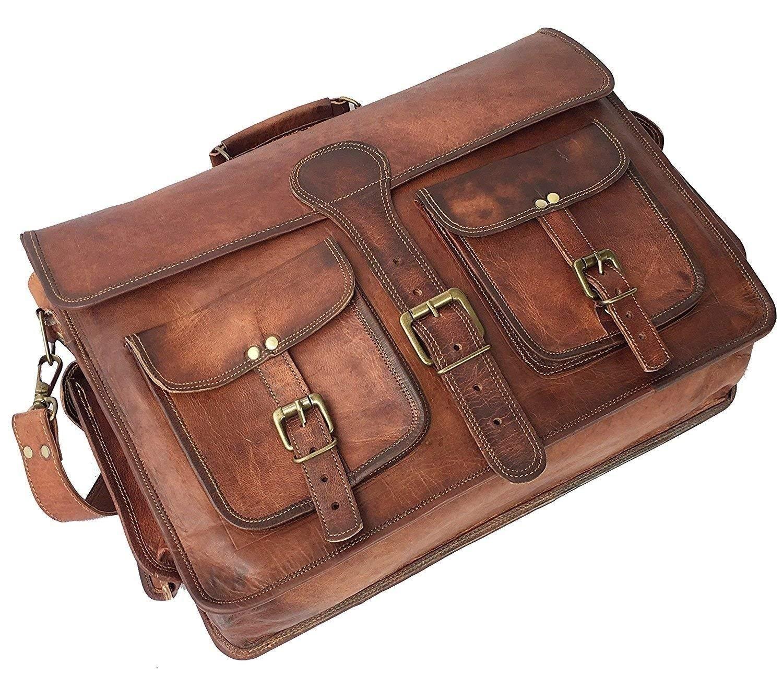 """Leather Native 18"""" Mens Genuine Vintage Brown Leather Messenger Bag Shoulder Laptop Bag Briefcase"""
