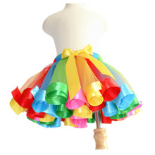 Handmade Rainbow Girls Tutu Skirt Baby Tutus Kids Tulle Skirt Ribbons Princess Dance Pettiskirt Party Wedding
