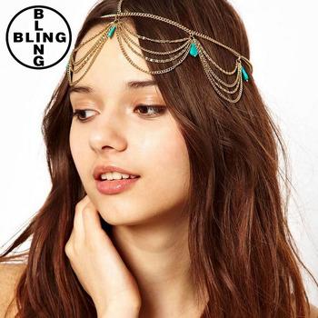 Gold Indian Head Chain 5 Turquoise Crown Hair Cuff Arabian Piece Jewelry