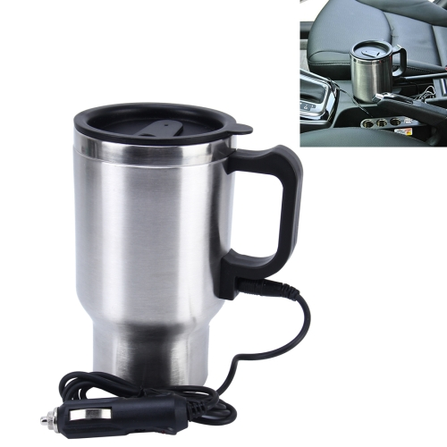 In stock low price 12V Stainless Steel Electric Car Kettle Heated Coffee Mug With Charger Cigarette Lighter Heating Cup