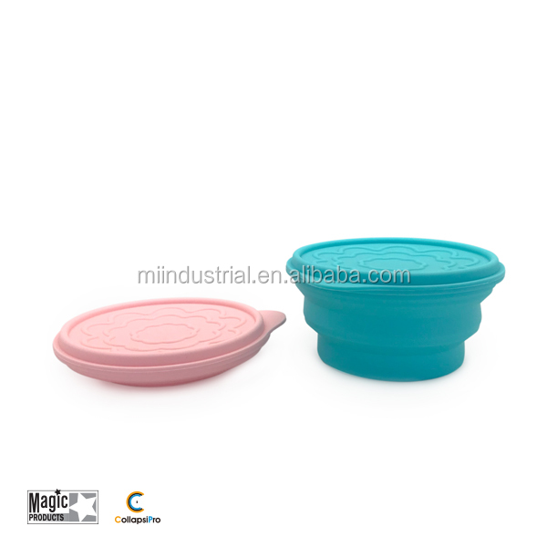 Collapsible Durable Silicone bowl with cover BPA FREE