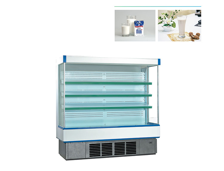 Open freezer supermarket fruit and vegetable display showcase refrigerator