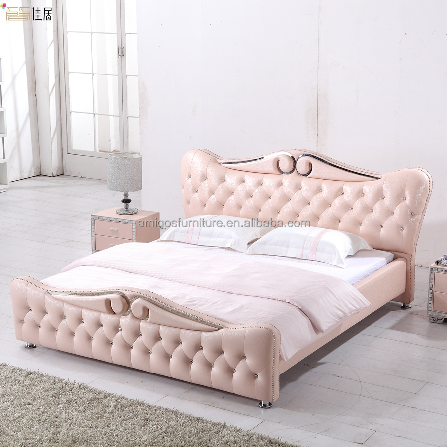 2015 luxury high quality pink leather headboard bed