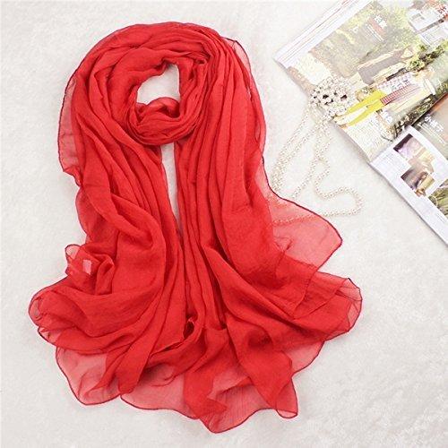 Museya 180*150cm Womens Long Soft Silk Scarf Shawl Stole Wrap (Red)