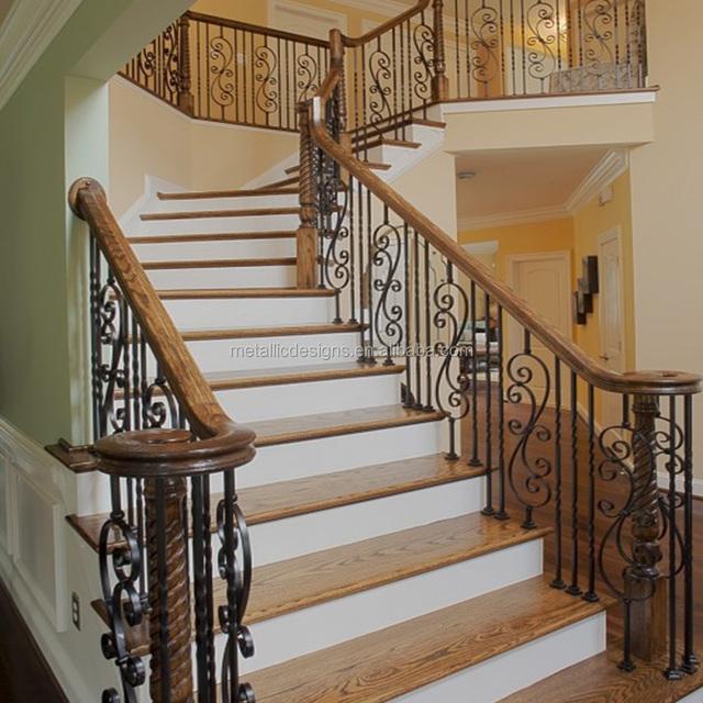 Elegant Antique Iron Stair Balusters, Stairway Rails, Indoor Stairs Railing