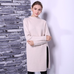 Pullover styling long women sweater dress with Side splits at hem