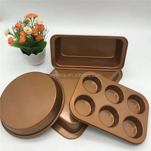 Non-stick Cake Pan Baking Bakeware Mold Mould Set with Round & Long &Cupcake & Square Shaped Tool