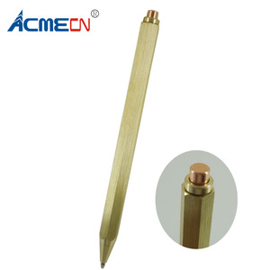 ACMECN Newest Hexagonal Brass Pen Push Click Black ink Refill 1.0mm Writing Point 38g Hand-made Brass Craft School Students Pen