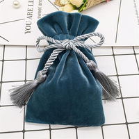 Custom Logo Velvet Bags With Tassel Drawstring Pouches Jewelry Bag